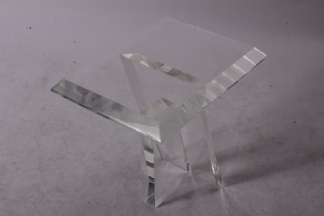 Midcentury Plexiglass Side Table, Asymmetric Base - 2