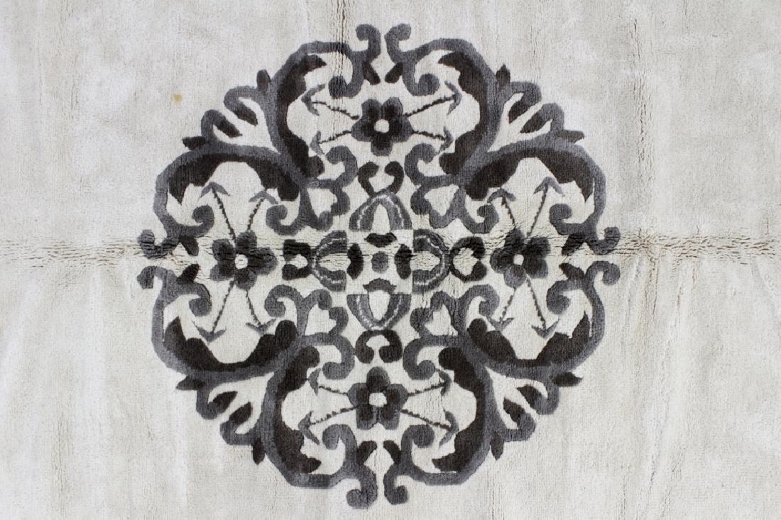 Chinese Style Rug; Black & Ivory