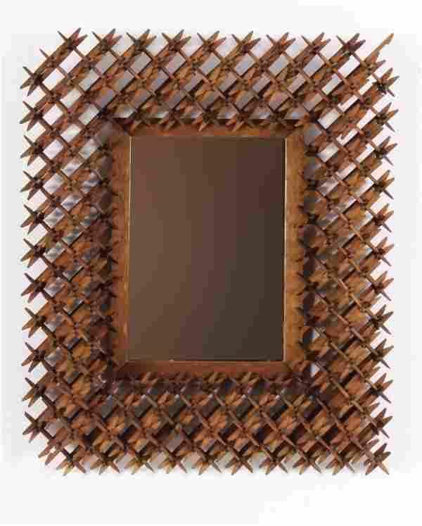 "Tramp Folk Art, ""Crown of Thorns"" Framed Mirror"