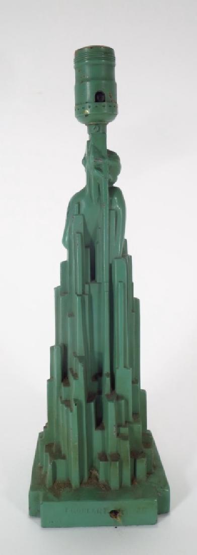 Frankart Art Deco lamp, Nude in cityscape - 4