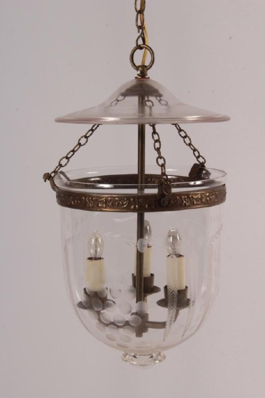 Vaughan Brass/Etched Glass Globe Lantern