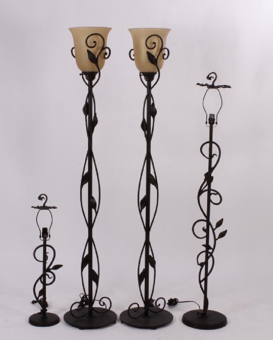"""4 """"Quoizel"""" Steel Floor Lamps,20th C."""