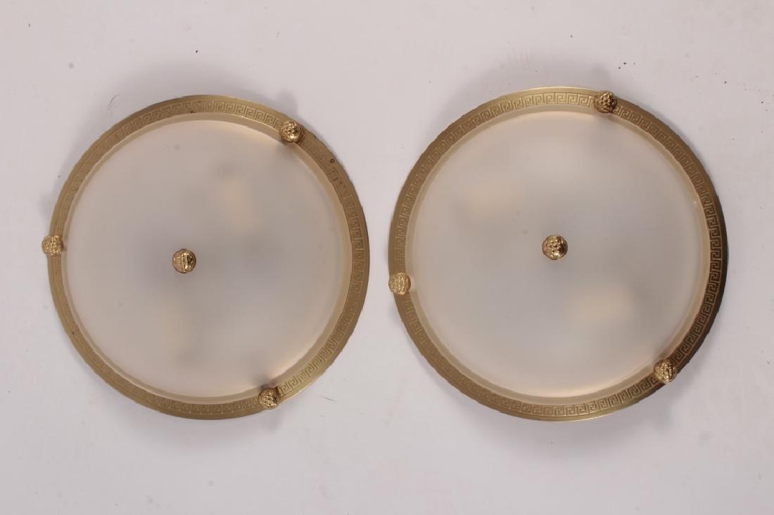 Pr. of Vaughan Brass/Glass Ceiling Lights