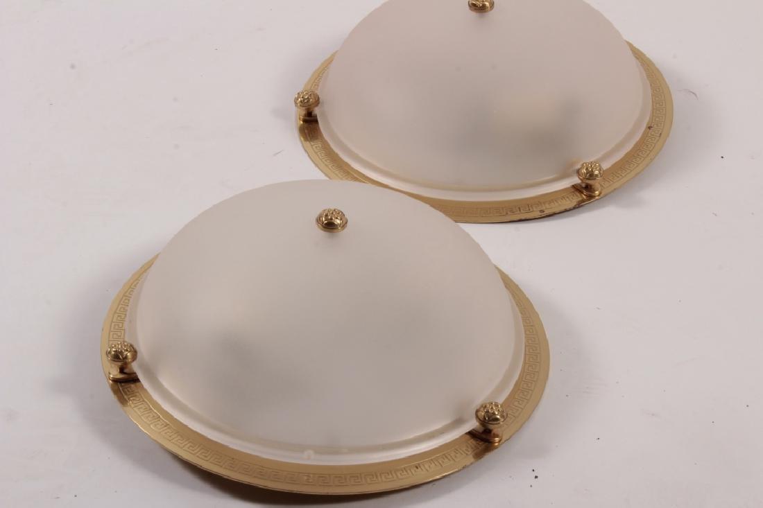 Pr. of Vaughan Brass/Glass Ceiling Lights - 2
