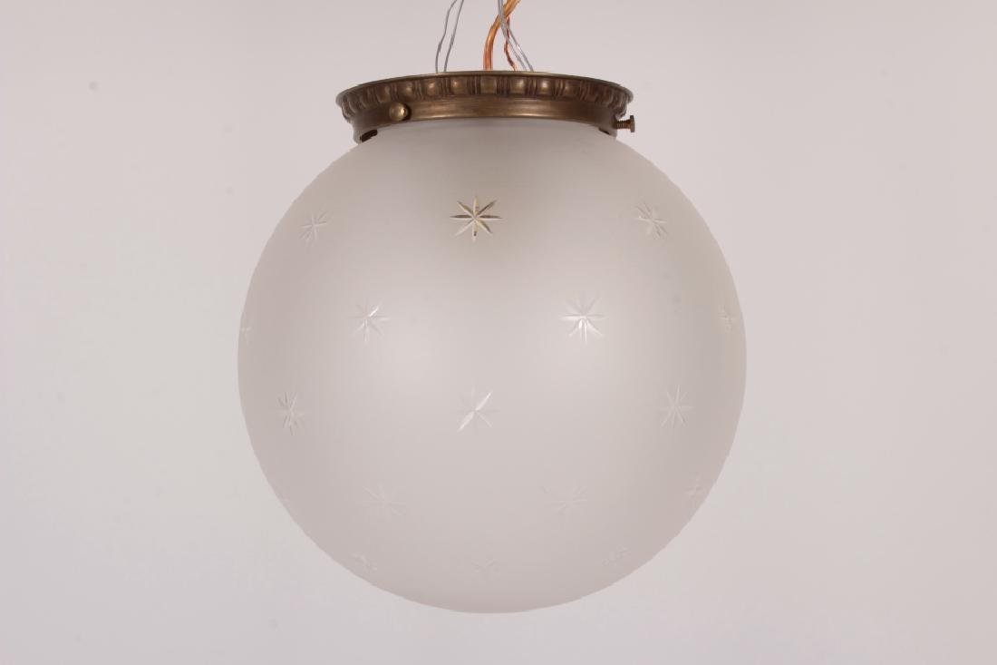 Vaughan Brass/Etched Glass Ceiling Light