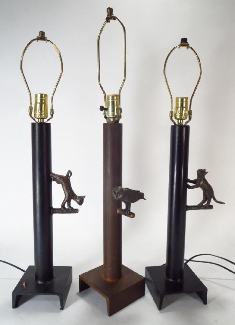 3 Bronze & Steel Figural Lamps