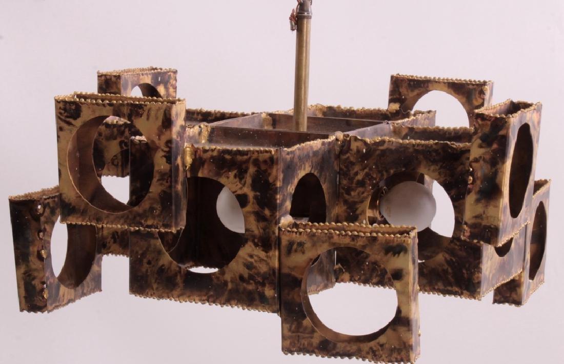 Tom Greene Brutalist Brass Chandelier for Feldman