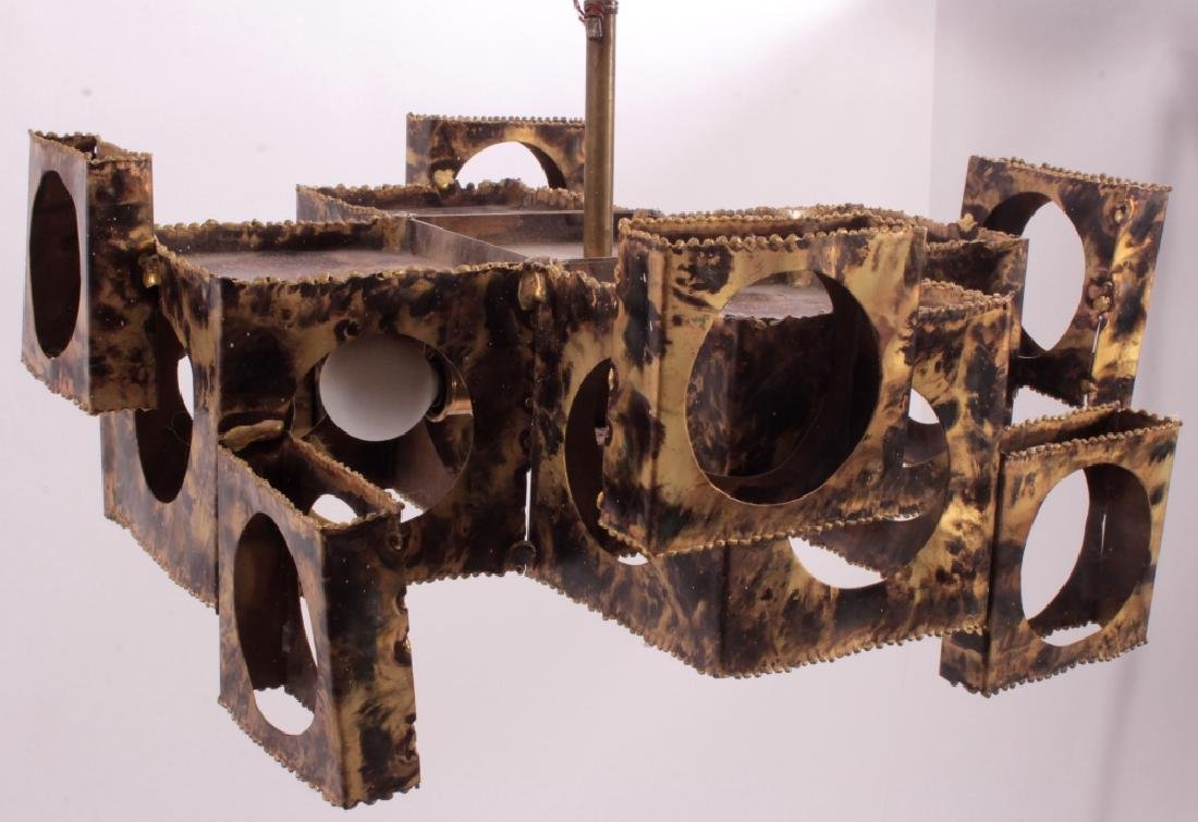 Tom Greene Brutalist Brass Chandelier for Feldman - 2