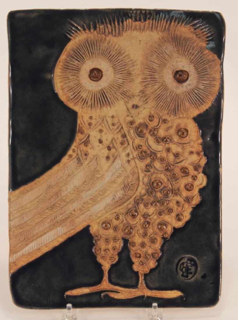 Helmet Shaffenacker Art Pottery Owl Plaque Tile
