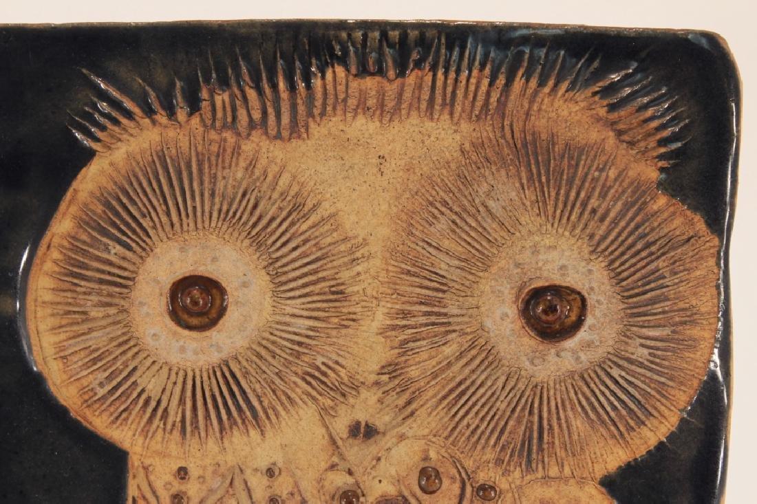 Helmet Shaffenacker Art Pottery Owl Plaque Tile - 2