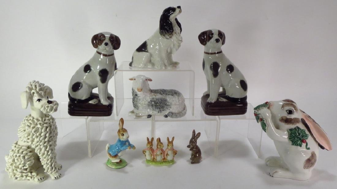 Group of 9 Pottery Animal Figures