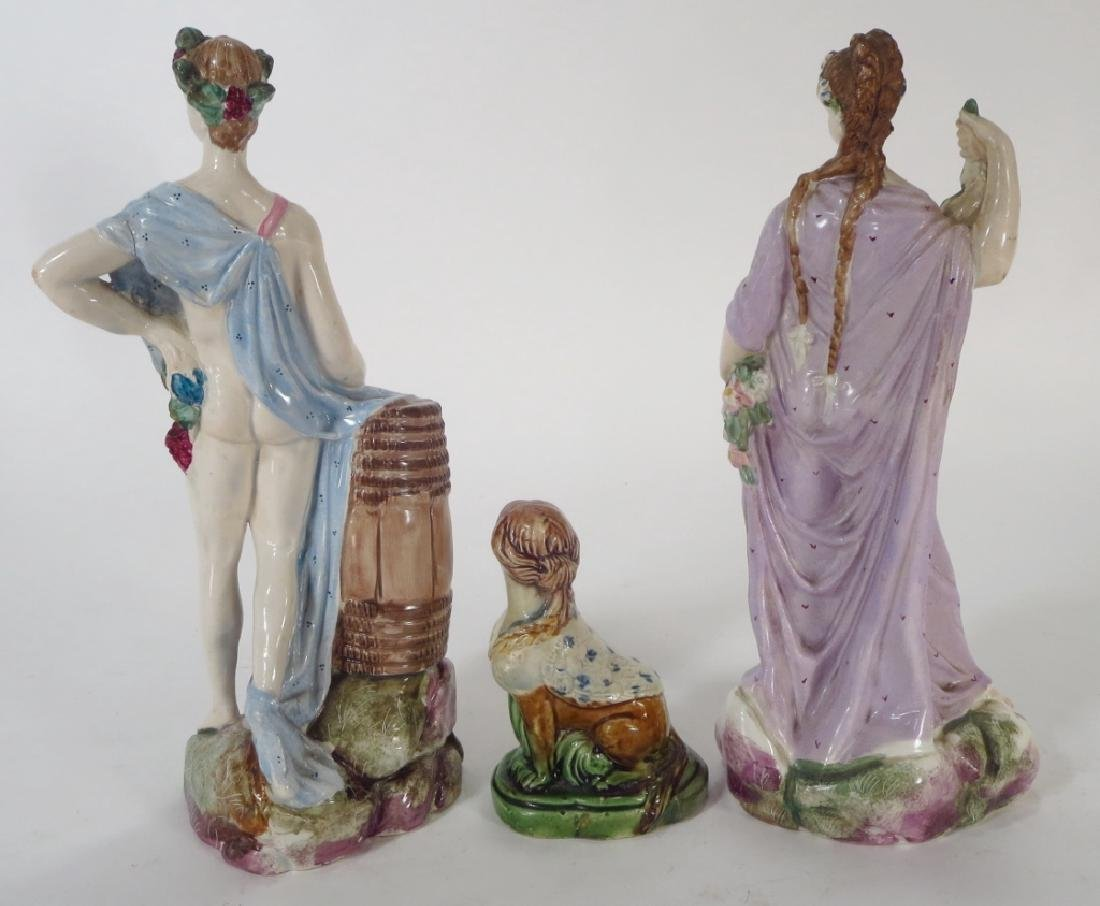 Three Staffordshire Figures, one a Sphinx, 19th c. - 4
