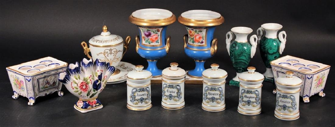 Group of French Porcelain incl. Urns & Jardinieres