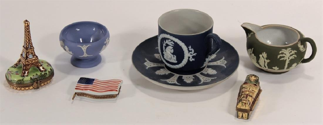 Lot 7 Adam Turnstall Wedgwood w/ 3 Limoges Boxes