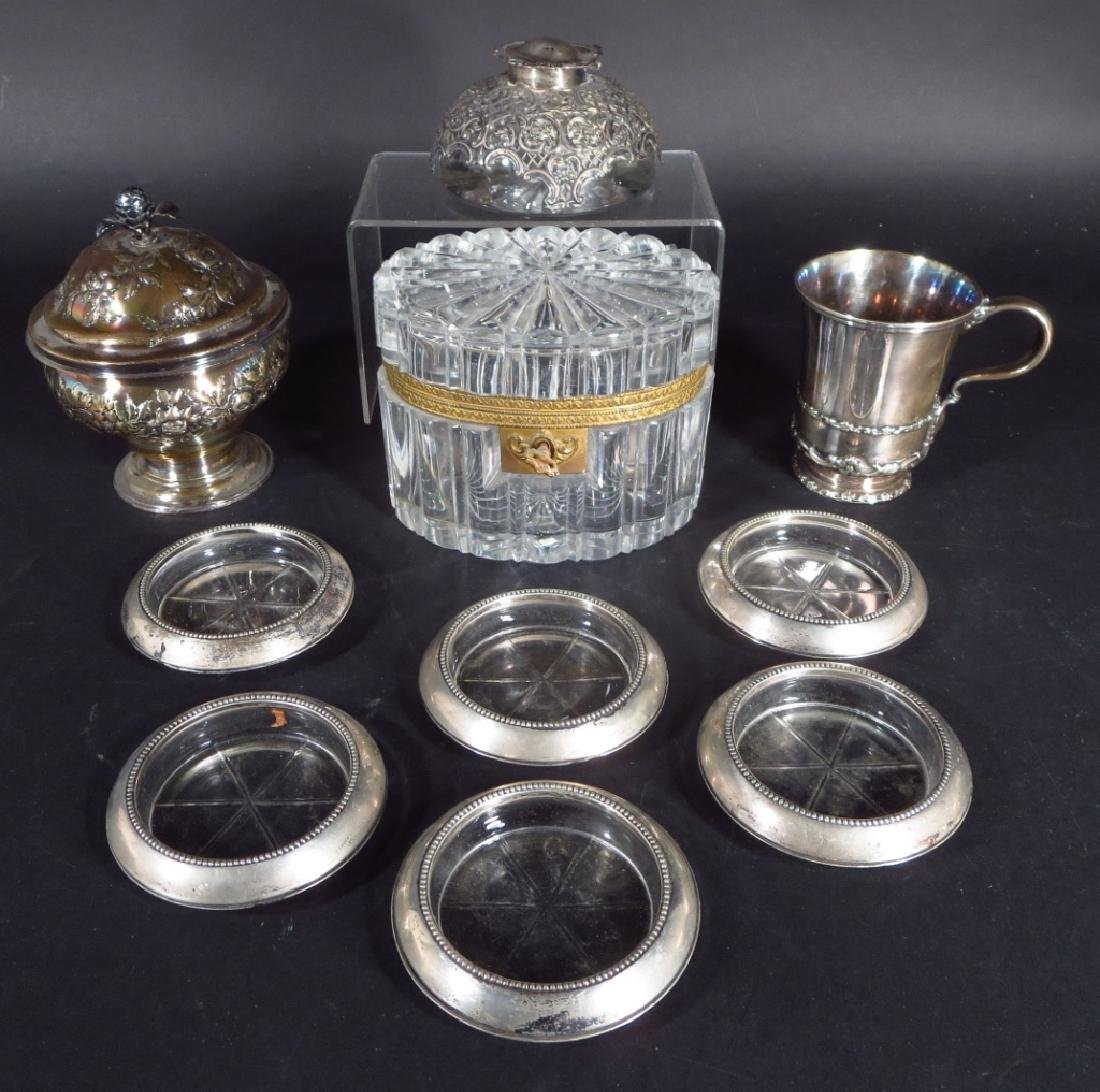 10 pcs silver, crystal inc. Georgian box