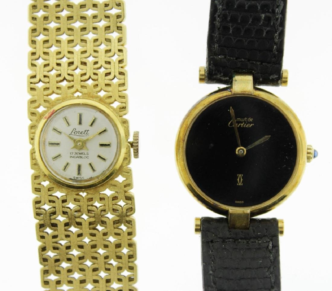 2 Wristwatches, 18K and Cartier - 4