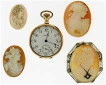 Two 14k Gold Items; Cameo & Pocketwatch