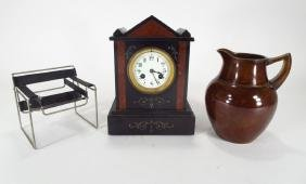 Bronze Pitcher, Marble Clock, Chair Model