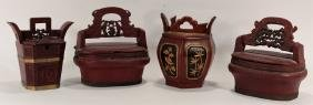 4 Chinese Wood Storage Containers