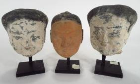 3 Chinese Han Dynasty Pottery Heads, 200 BC/AD