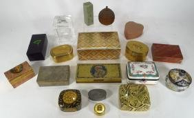 18 Assorted boxes; brass, stone, lacquer, etc.