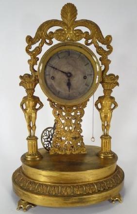 French Empire Bronze Dore Clock, c. 1830