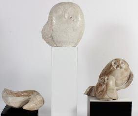 3 Inuit Marble Sculptures: Owls and Bird, Signed.