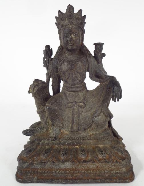 Sint-Tibetan Bronze Kubera on Foo Dog, 18/19th C.