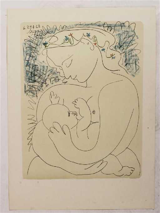 Pablo Picasso Maternite Lithograph in Colors 1963