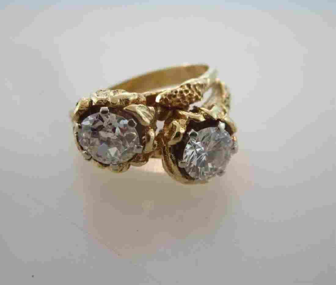 Ladies 14 K Gold Ring Two Large Diamonds 2.13 ct.
