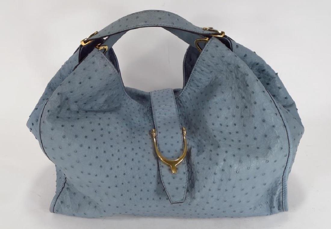 Gucci Blue Ostrich Stirrup Hobo Bag