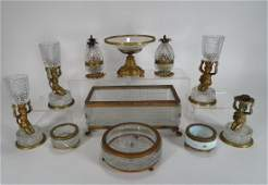 11 Gilt bronze and crystal table articles