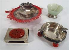 Edward Farmer, Chinese Jade & Sterling Dish