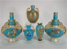5 Royal Crown Derby Vases,Gilt on Turquoise Ground