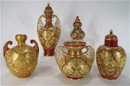 Five Royal Crown Derby Porcelain Vases 19th C