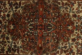 Persian Rug, Blue/red Borders,red Medallion On Buf