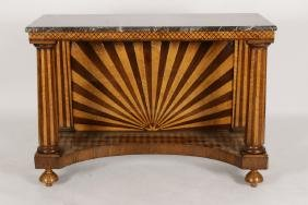 Continental Inlaid Wood/marble Pier Table, 19th C.