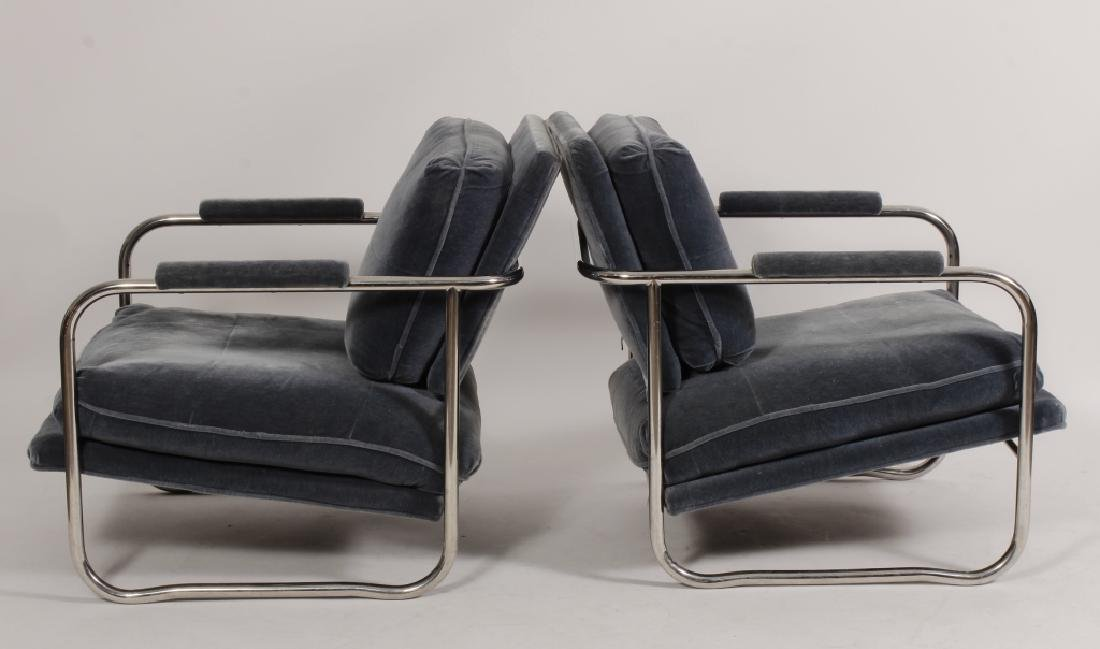 Pair of Pace Collection Chrome & Mohair Armchairs