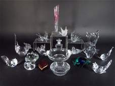 19 pc Steuben Baccarat Waterford other Crystal