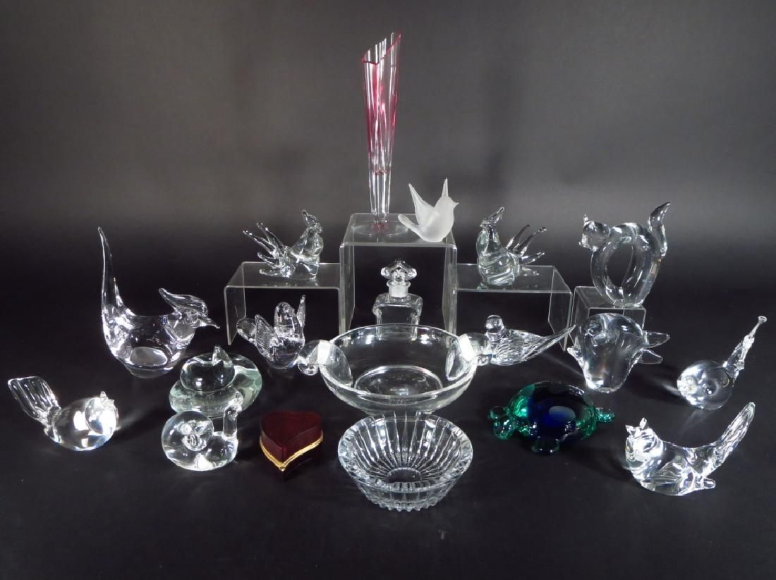 19 pc Steuben, Baccarat, Waterford, other Crystal