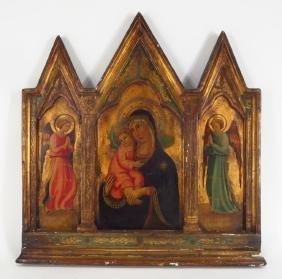 Decorative Madonna & Child W/ Angels Triptych