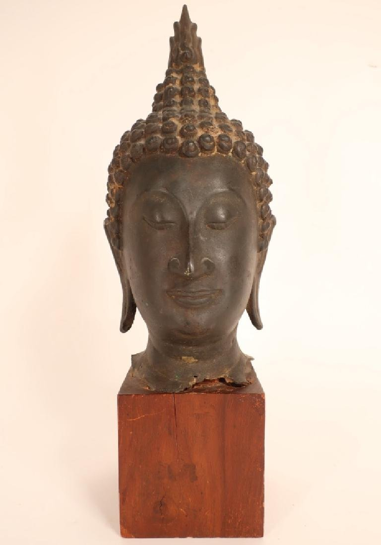 Thai Bronze Head of Buddha with Flame