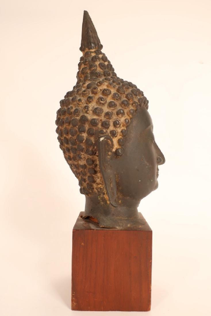 Thai Bronze Head of Buddha with Flame - 2