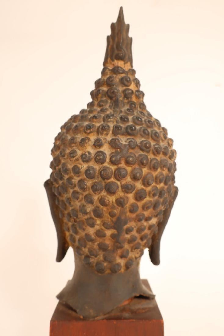 Thai Bronze Head of Buddha with Flame - 3