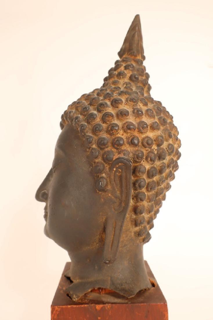Thai Bronze Head of Buddha with Flame - 4