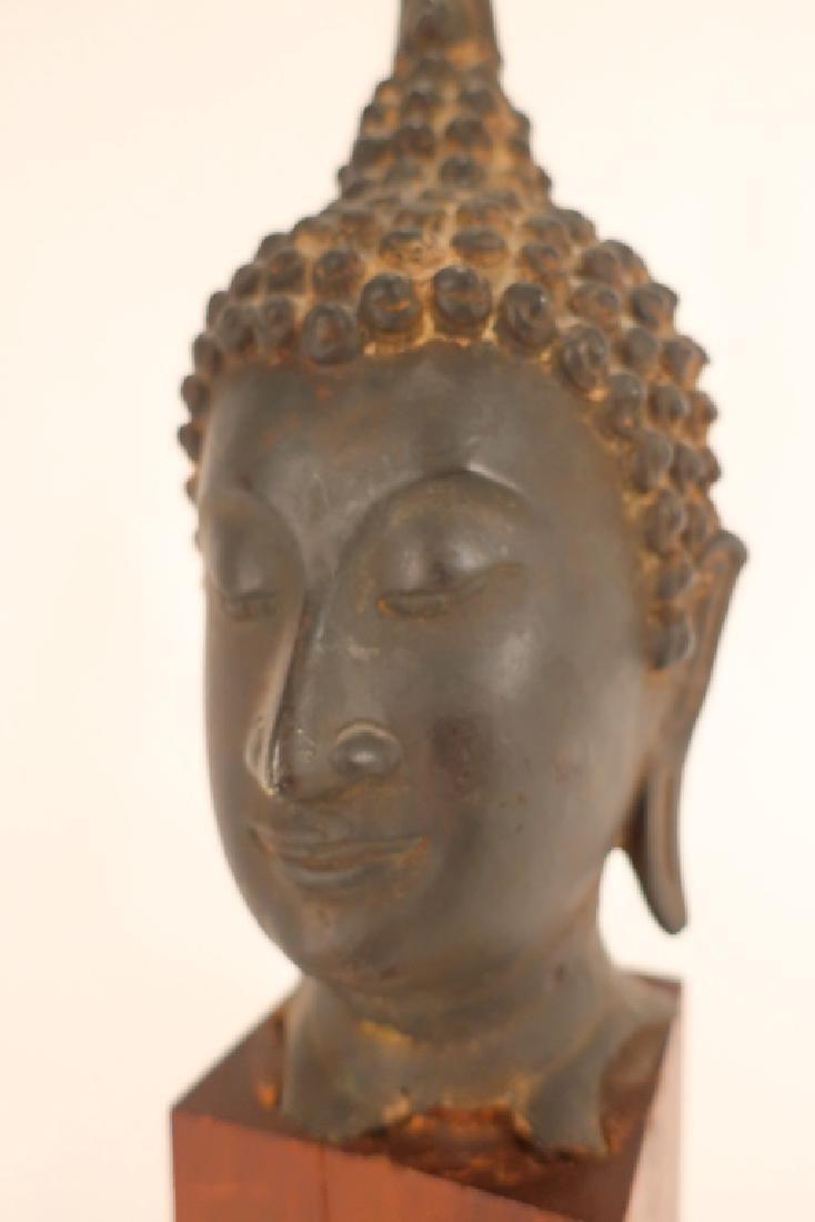 Thai Bronze Head of Buddha with Flame - 5