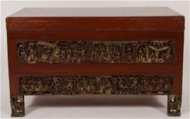 Chinese Red Lacquer Trunk with Carved Panels.