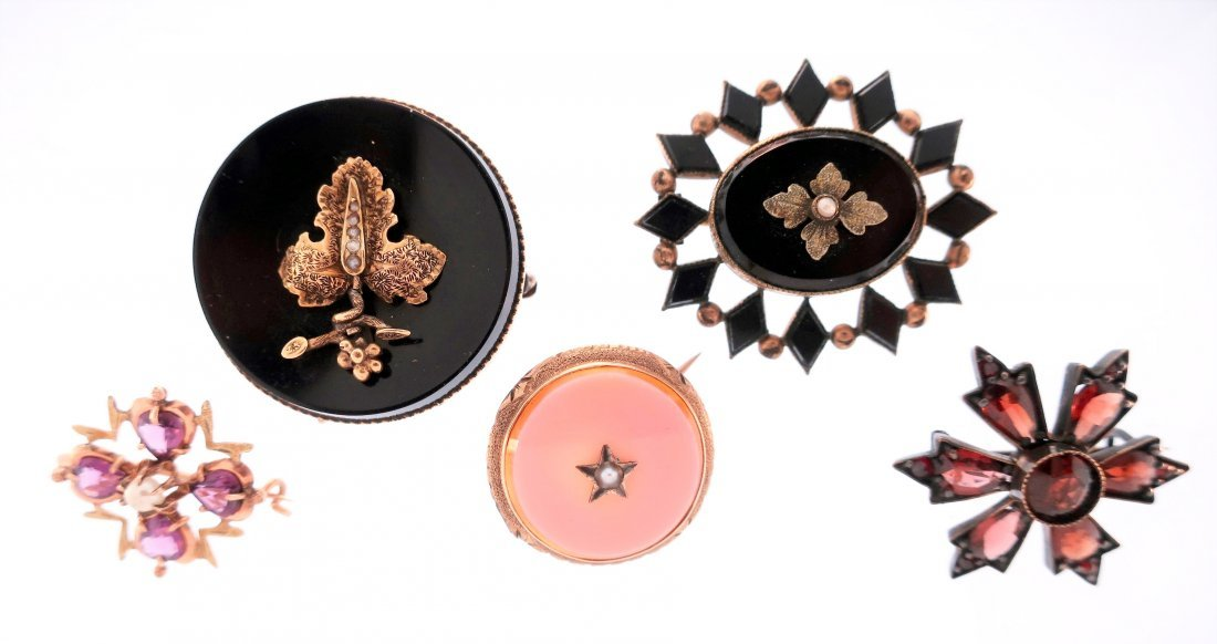 5 Victorian Brooches,14K and Others