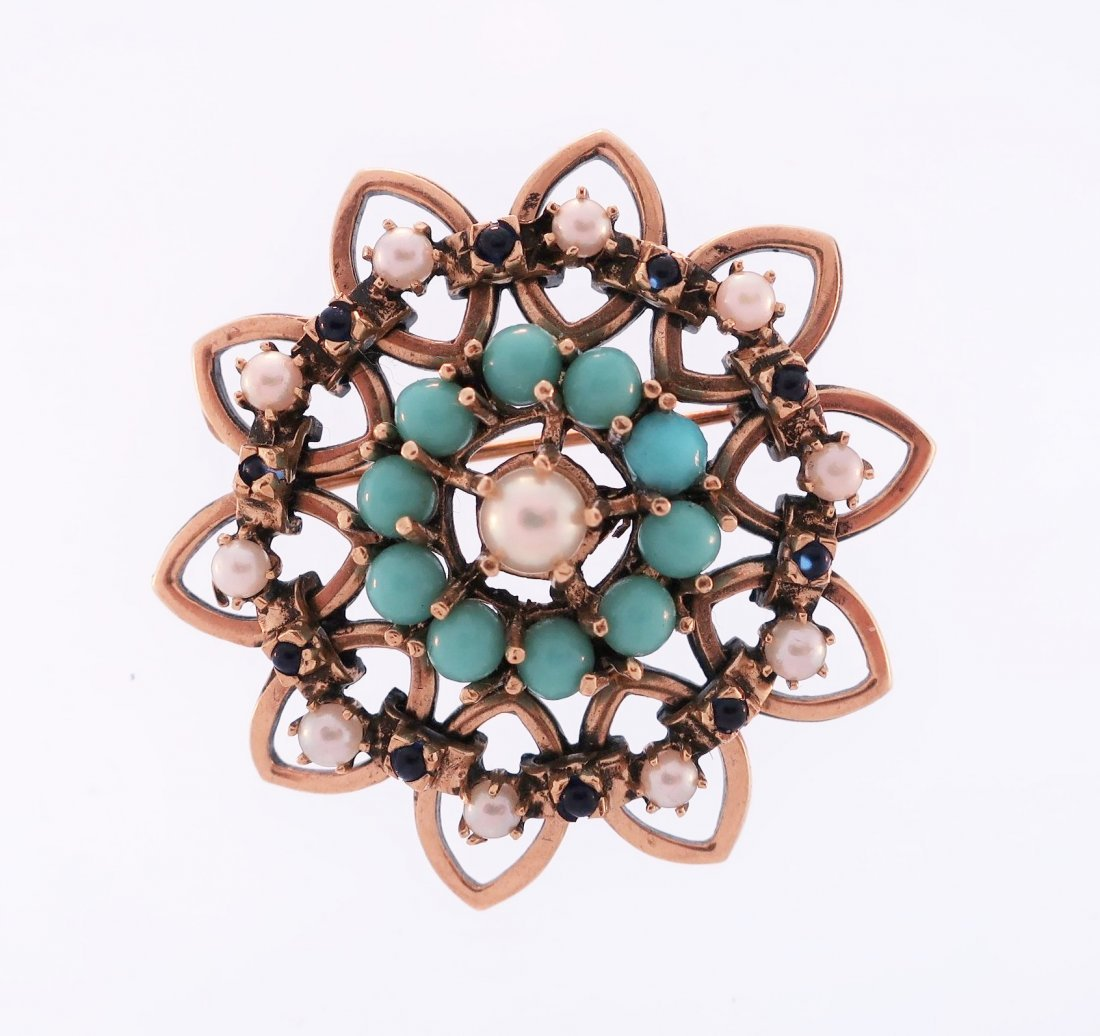14K Turquoise, Pearl and Sapphire Pin