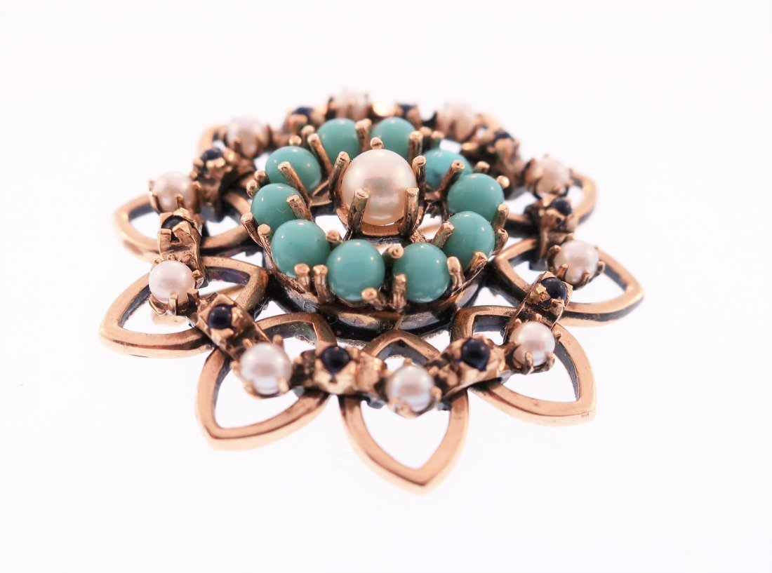 14K Turquoise, Pearl and Sapphire Pin - 2